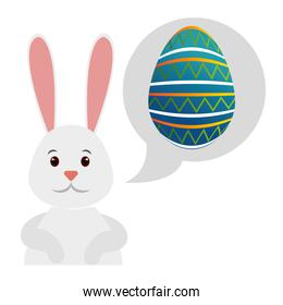 cute bunny with egg pain in speech bubble