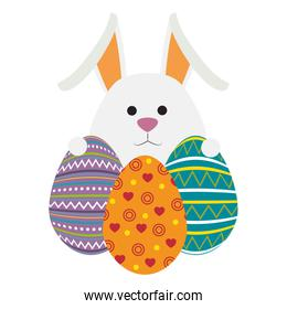 eggs paint with cute bunny easter decoration