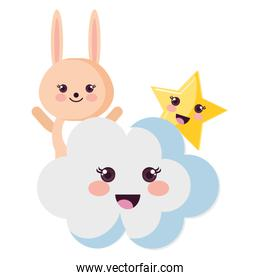 cute rabbit with cloud and star kawaii characters