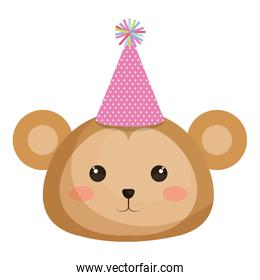 cute monkey with hat party kawaii character