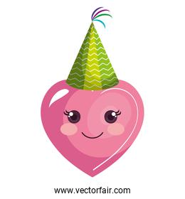 heart emoji face with party hat
