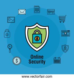 online security with padlock icons