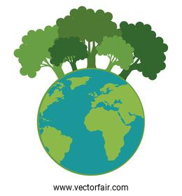 save the planet earth with forest trees ecology