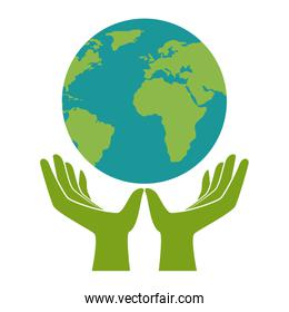 hands protected the planet earth ecology