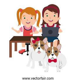 kids with laptop and cute dog