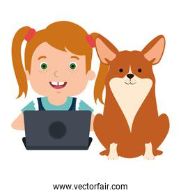 girl with laptop and cute dog
