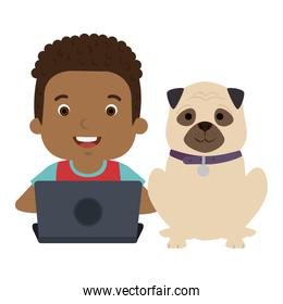 boy with laptop and cute dog