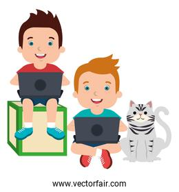 kids with laptop and cute cat