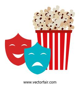 pop corn with theater masks