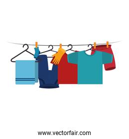 clothes drying on wire