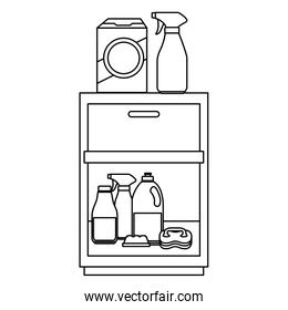 laundry drawer with housekeeping products