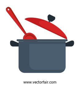 kitchen pot with spoon isolated icon