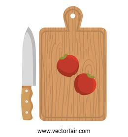 wooden kitchen board with knife