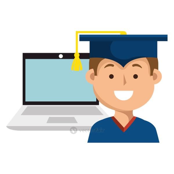 education online with laptop and graduated