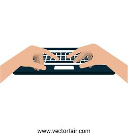 hands typing in keyboard