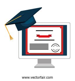 computer desktop with diploma and hat