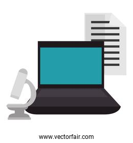 education online with laptop with microscope