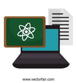 education online with laptop and chalkboard