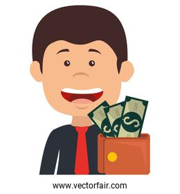 smiling businessman with wallet money