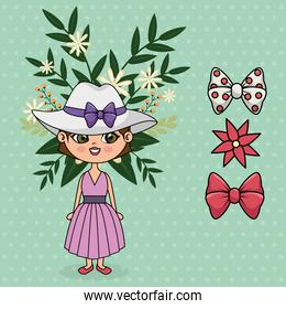 cute girl character with floral decoration and accessories
