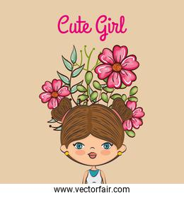 cute girl character with floral decoration