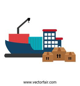 ship with pile boxes delivery service