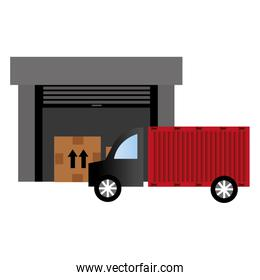 warehouse building with truck delivery service
