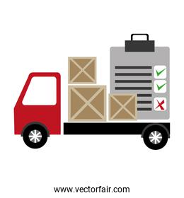 truck delivery with wooden boxes and checklist