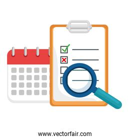 checklist with calendar and magnifying glass