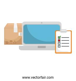 carton box with checklist and laptop isolated icons