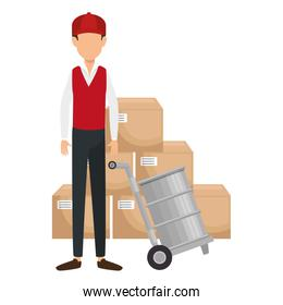 delivery worker with cart transport barrel and boxes