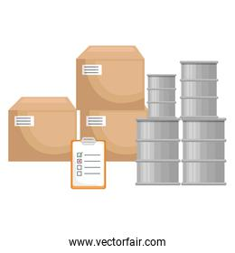 pile carton boxes with checklist and barrels