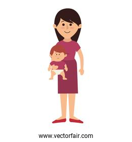 beautifull mother with baby avatar character