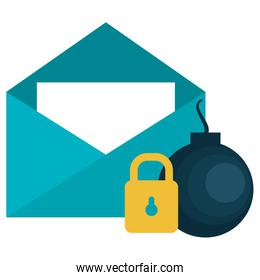 envelope mail with padlock and bomb