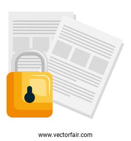 documents files with padlock