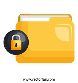 file folder with documents and padlock