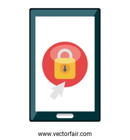smartphone with padlock security