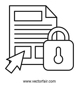 documents files with padlock and cursor arrow