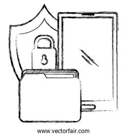 folder with smartphone and shield