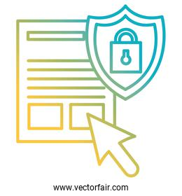 documents files with padlock and shield