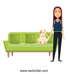 young woman with cat in the sofa characters