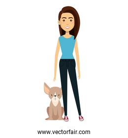 young woman with dog characters