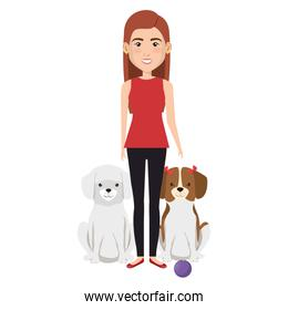 young woman with dogs characters