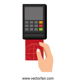 voucher with hand and credit card