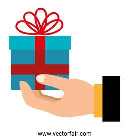 hand with gift box present