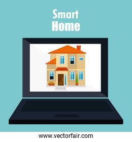 smart home with laptop computer device