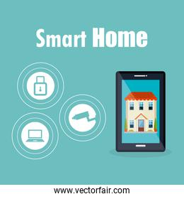 smart house with smartphone and set services icons