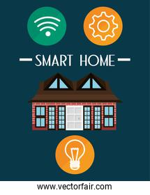 smart house with set services icons