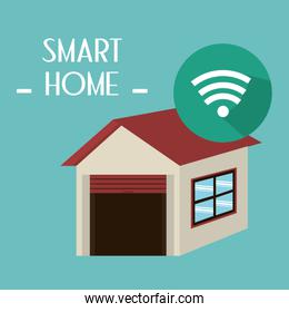 smart house with wifi signal service over green
