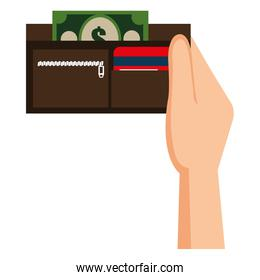 hand with wallet and bills money